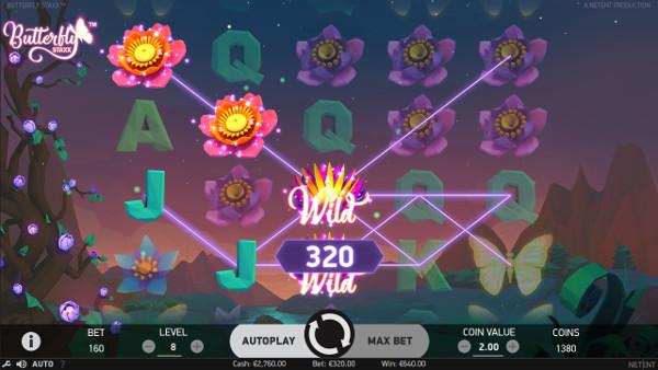 Высокие шансы выигрыша на сайт казино Джойказино в автомате Butterfly Staxx